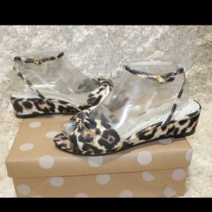 Alice and Olivia Alexi Leopard Print Wedge Sandals
